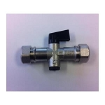 Isolation Valve, 15mm, with double check valve, Compression