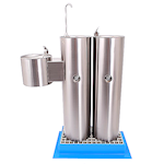 Stainless Steel Triple Station Outdoor Floor Standing Fountain