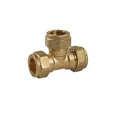 Equal Tee, 15mm (Brass) Compression